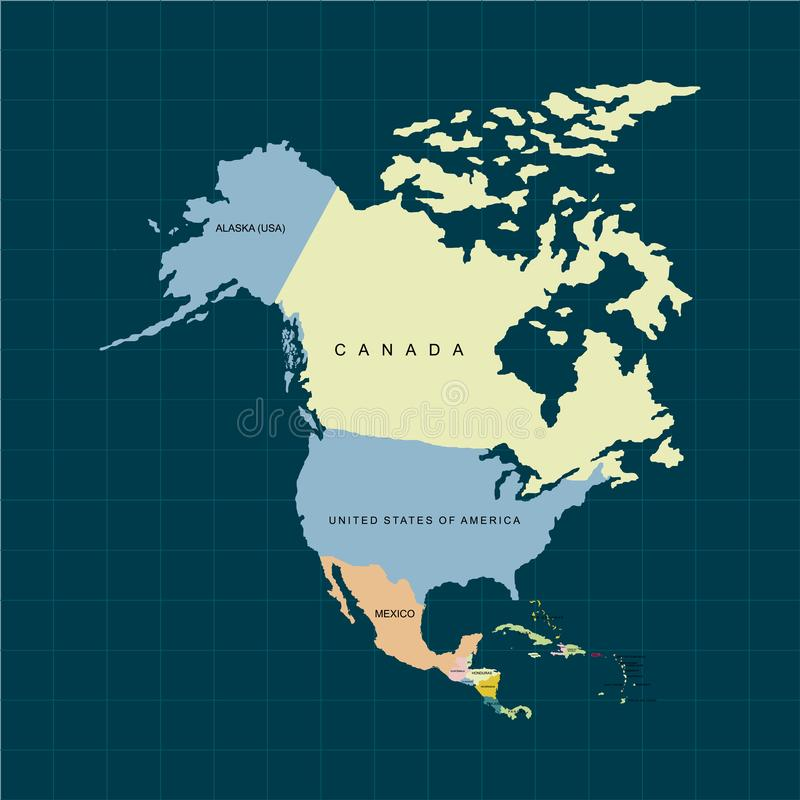 Territory of North America continent, Canada, Alaska and Mexico. Dark background. Vector illustration. Territory of North America continent, Canada, Alaska and royalty free illustration