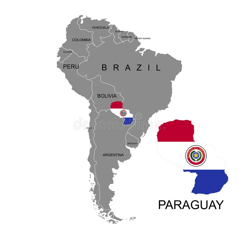 Territory of Paraguay on South America continent. White background. Vector illustration. Territory of Paraguay on South America continent. White background stock illustration