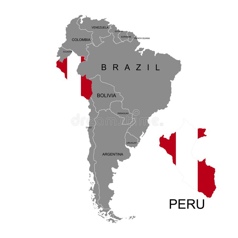 Territory of Peru on South America continent. White background. Vector illustration. Territory of Peru on South America continent. White background vector illustration