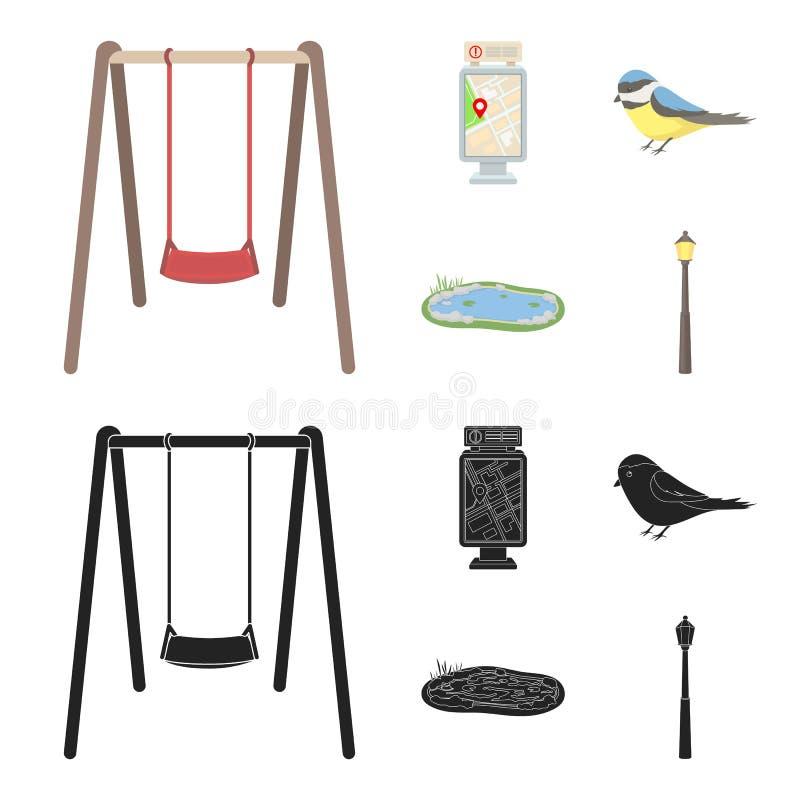 Territory plan, bird, lake, lighting pole. Park set collection icons in cartoon,black style vector symbol stock stock illustration