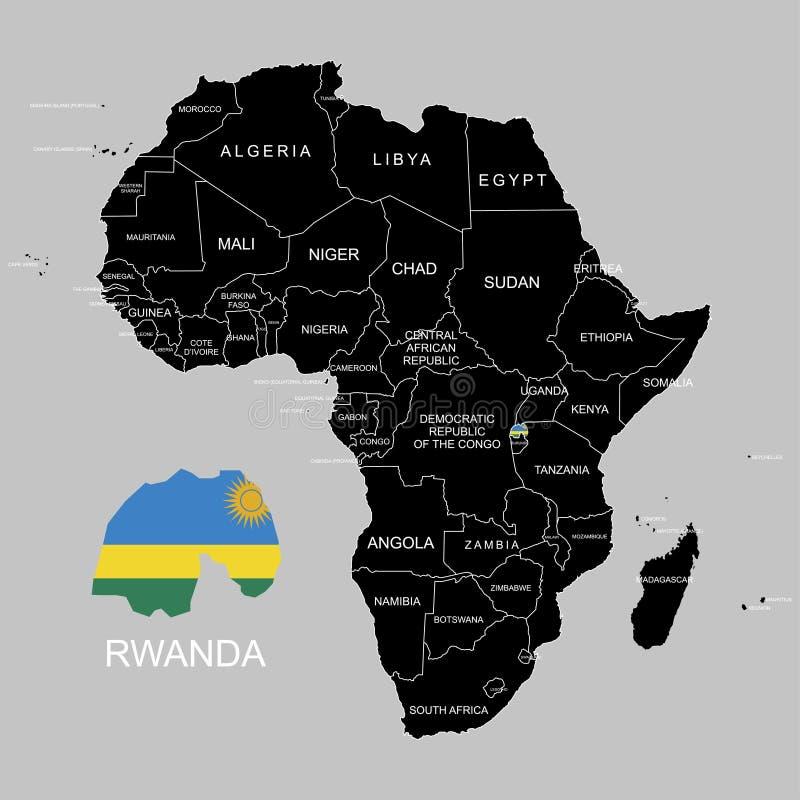 Territory of Rwanda on Africa continent. Vector illustration. Territory of Rwanda on Africa continent. Vector royalty free illustration
