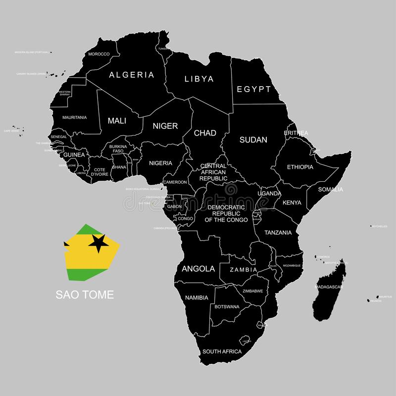Territory of Sao Tome on Africa continent. Vector illustration. Territory of Sao Tome on Africa continent. Vector royalty free illustration