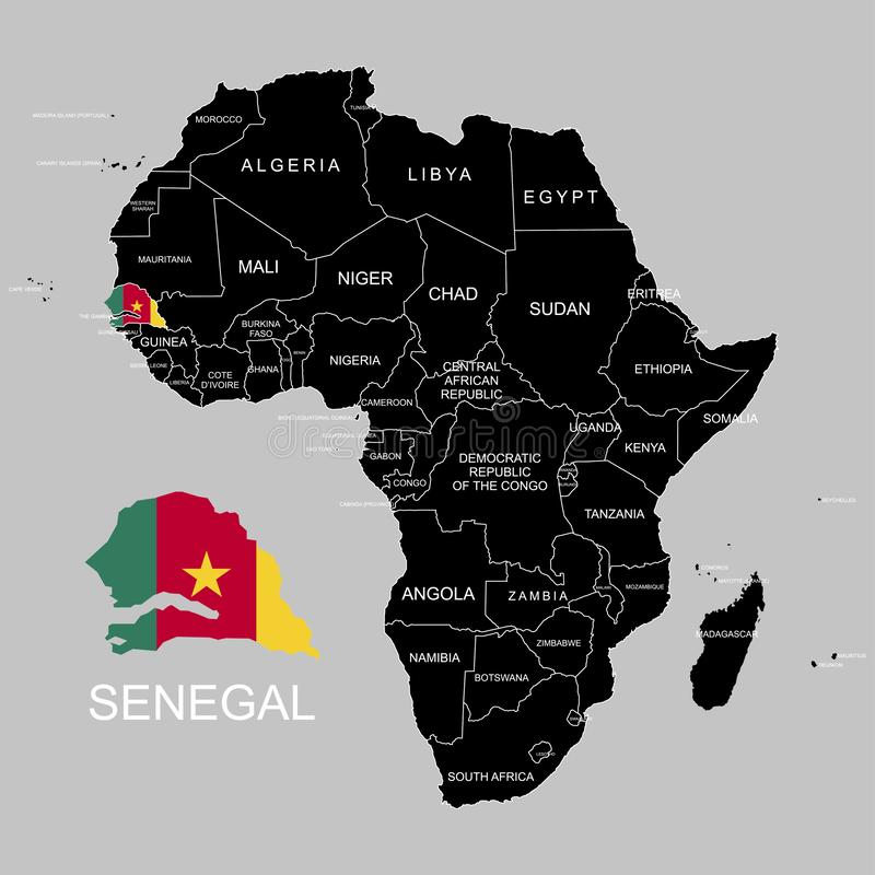 Territory of Senegal on Africa continent. Vector illustration. Territory of Senegal on Africa continent. Vector royalty free illustration