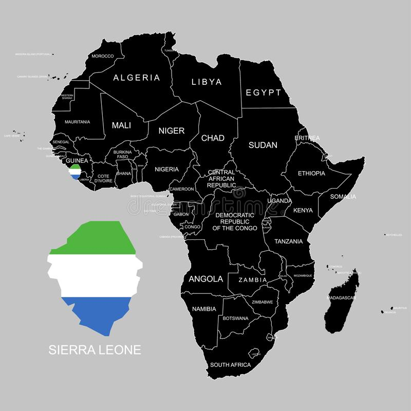 Territory of Sierra Leone on Africa continent. Vector illustration. Territory of Sierra Leone on Africa continent. Vector royalty free illustration