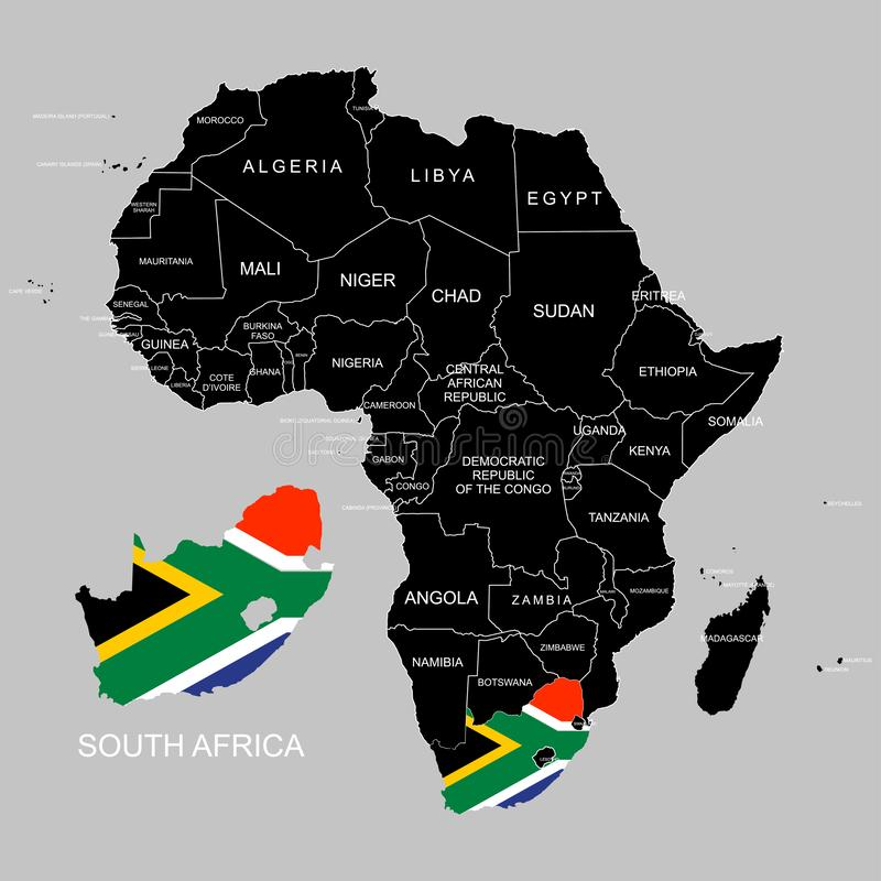 Territory of South Africa on Africa continent. Vector illustration. Territory of South Africa on Africa continent. Vector stock illustration