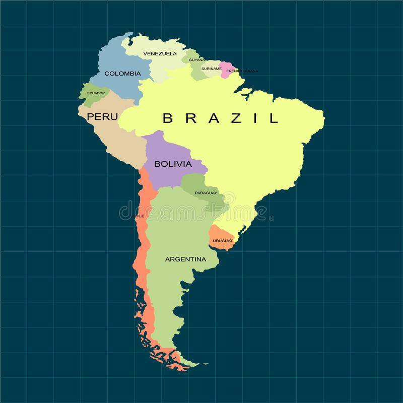 Territory of South America continent. Dark background. Vector illustration. Territory of South America continent. Dark background. Vector vector illustration