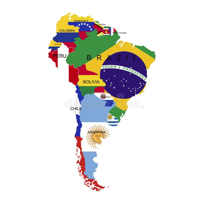 Territory of South America continent. Separate countries with flags. List of countries in South America. White background. Vector. Territory of South America stock illustration