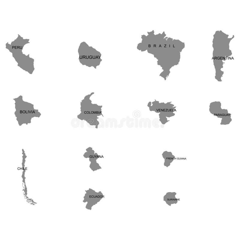 Territory of South America continent. Separate countries. List of countries in South America. White background. Vector illustratio. Territory of South America stock illustration