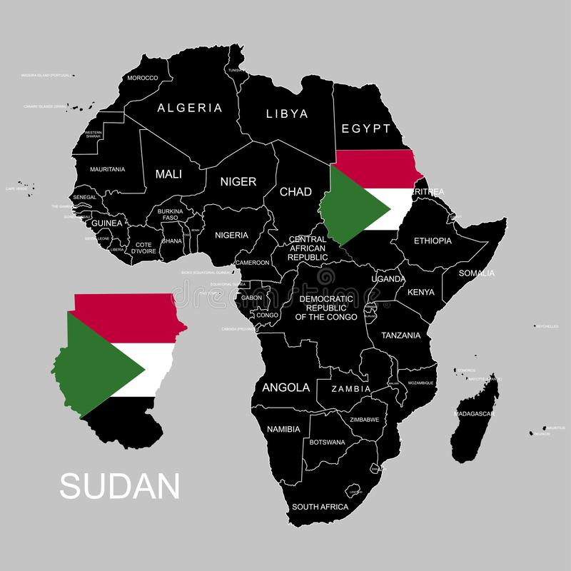 Territory of Sudan on Africa continent. Vector illustration. Territory of Sudan on Africa continent. Vector royalty free illustration