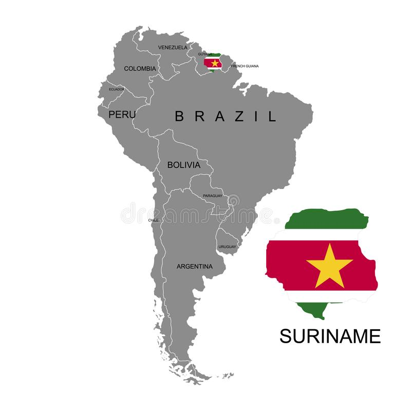 Territory of Suriname on South America continent. White background. Vector illustration. Territory of Suriname on South America continent. White background royalty free illustration
