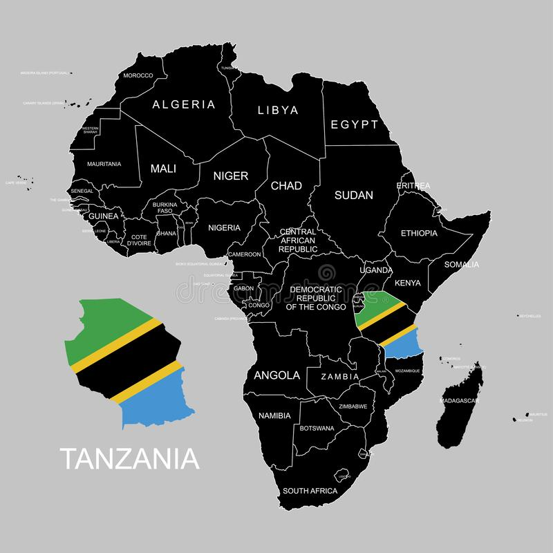 Territory of Tanzania on Africa continent. Vector illustration. Territory of Tanzania on Africa continent. Vector royalty free illustration