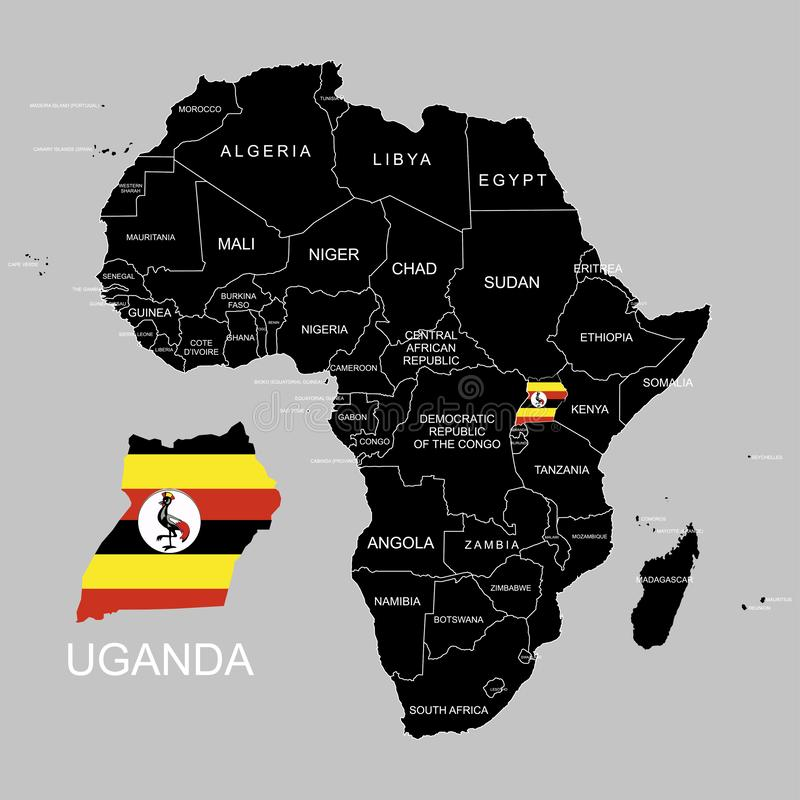 Territory of Uganda on Africa continent. Vector illustration. Territory of Uganda on Africa continent. Vector royalty free illustration