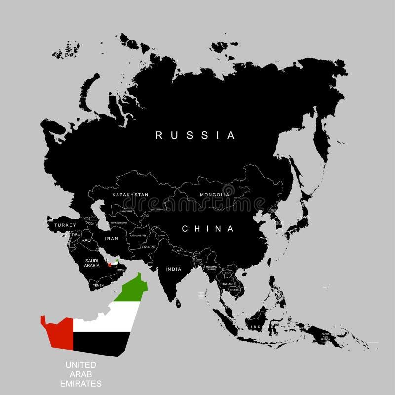 Territory of United Arab Emirates UAE on Asia continent. Flag of United Arab Emirates UAE. Vector illustration. Territory of United Arab Emirates UAE on Asia royalty free illustration