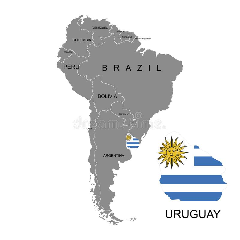 Territory of Uruguay on South America continent. White background. Vector illustration. Territory of Uruguay on South America continent. White background royalty free illustration