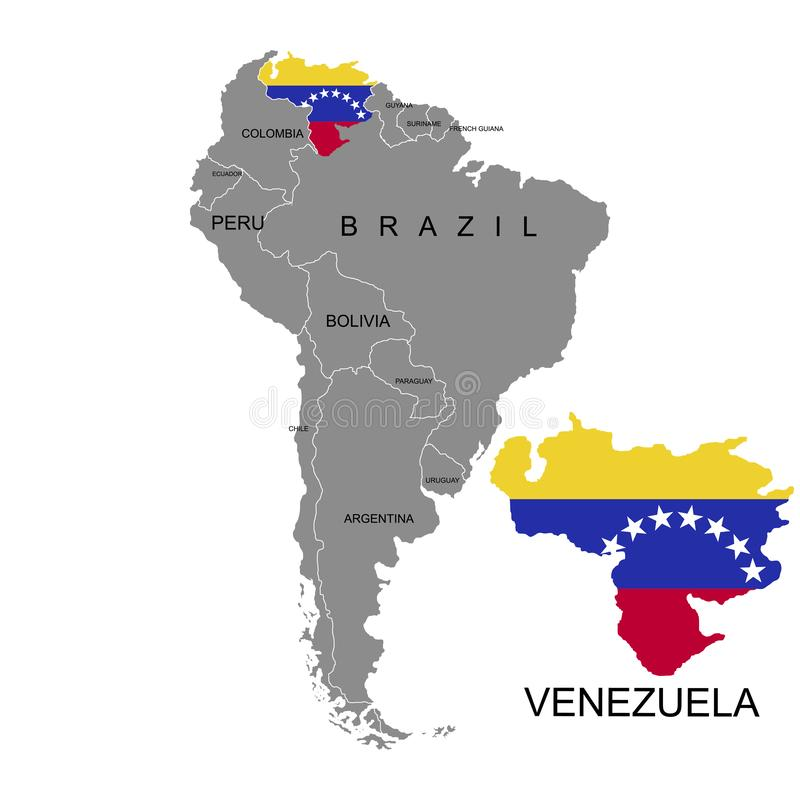 Territory of Venezuela on South America continent. White background. Vector illustration. Territory of Venezuela on South America continent. White background royalty free illustration