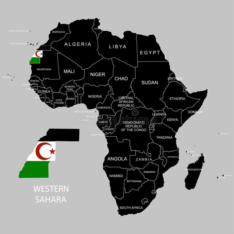 Territory of Western Sahara on Africa continent. Vector illustration. Territory of Western Sahara on Africa continent. Vector royalty free illustration