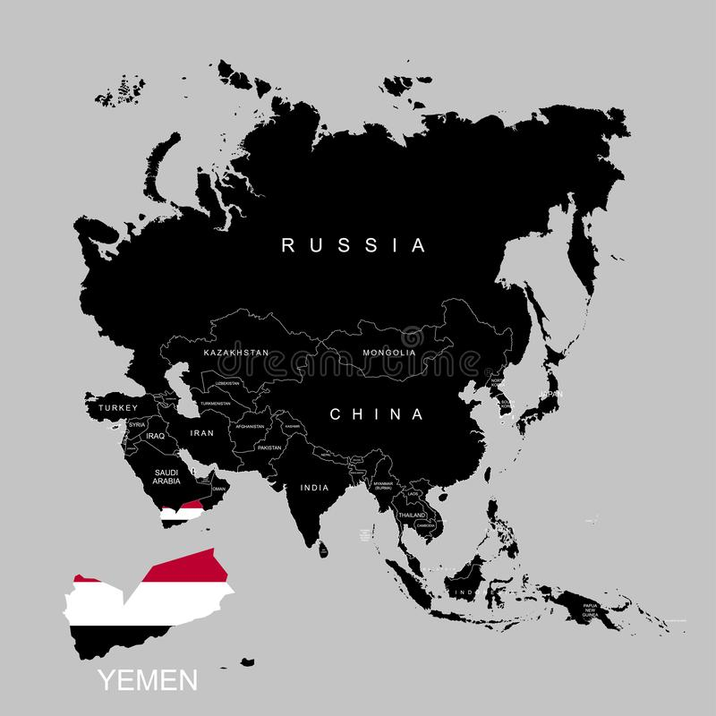 Territory of Yemen on Asia continent. Flag of Yemen. Vector illustration. Territory of Yemen on Asia continent. Flag of Yemen. Vector vector illustration