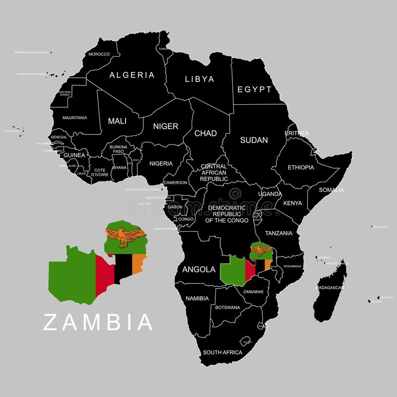 Territory of Zambia on Africa continent. Vector illustration. Territory of Zambia on Africa continent. Vector stock illustration