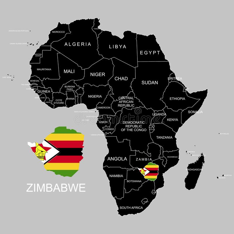 Territory of Zimbabwe on Africa continent. Vector illustration. Territory of Zimbabwe on Africa continent. Vector stock illustration