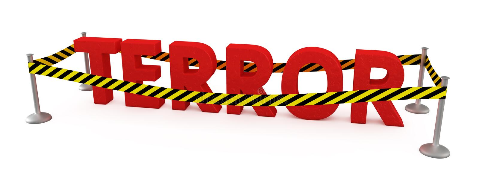 Terror area. Word Terror fenced by police tape royalty free illustration