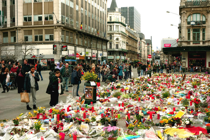 2016 terror attack memorial in Brussels royalty free stock images