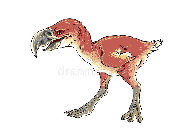 Terror bird with semi natural style. Walking looking for prey royalty free illustration