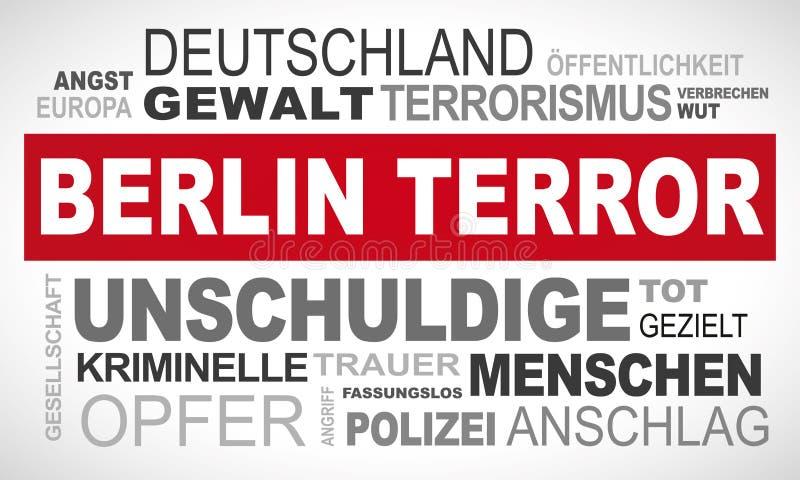 Terror de Berlim em Alemanha - exprima o alemão da nuvem ilustração do vetor