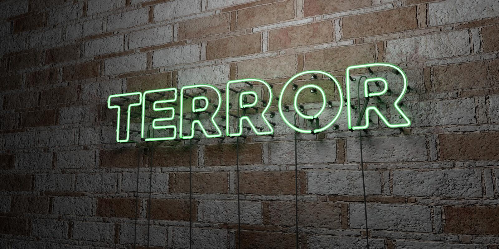 TERROR - Glowing Neon Sign on stonework wall - 3D rendered royalty free stock illustration. Can be used for online banner ads and direct mailers stock illustration