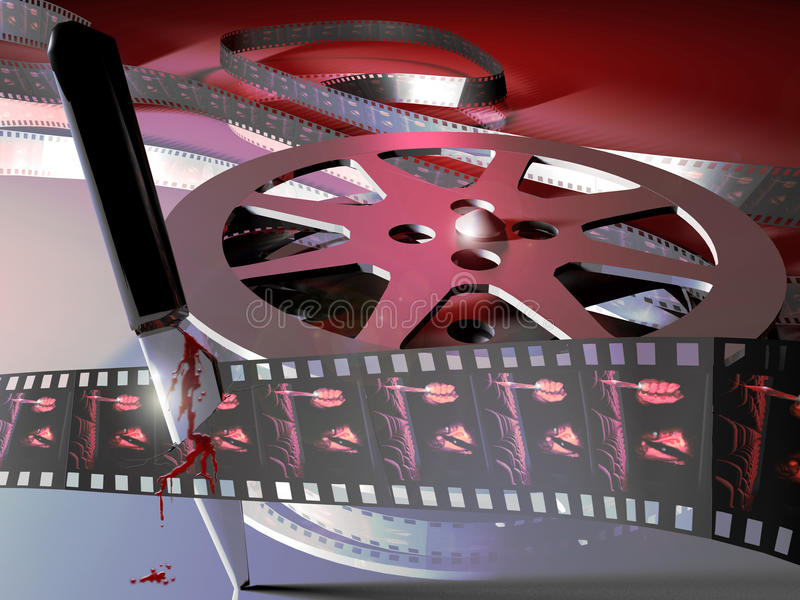 Terror movie. A composition representing a film roll with an image of a terror movie on its frames. A stained with blood knife is nailed through the film stock illustration