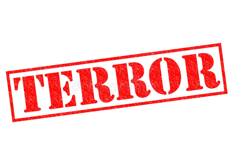 TERROR. Red Rubber Stamp over a white background vector illustration