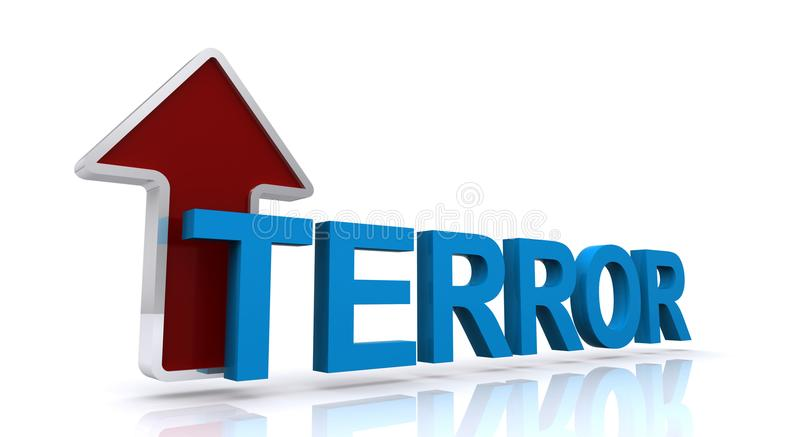 Terror word concept. 3D text in blue of the word TERROR with a silver-bordered red arrow with a silver border pointing upward behind the T, angled on reflective royalty free illustration
