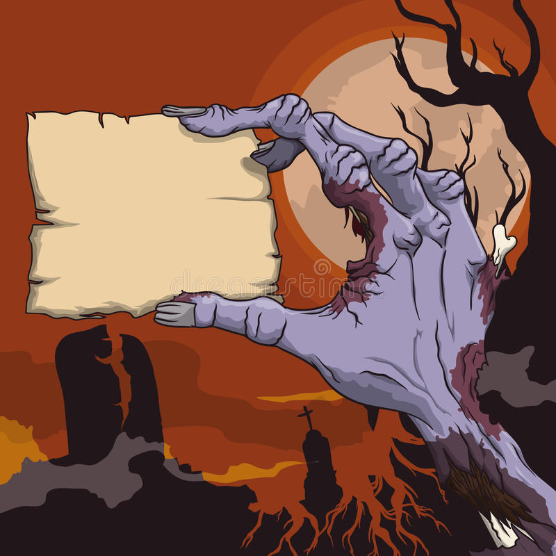 Terror Scene with Zombie Hand with Stamp on Graveyard, Vector Illustration. Terror scene with zombie hand in a ghostly graveyard holding a little stamp royalty free illustration