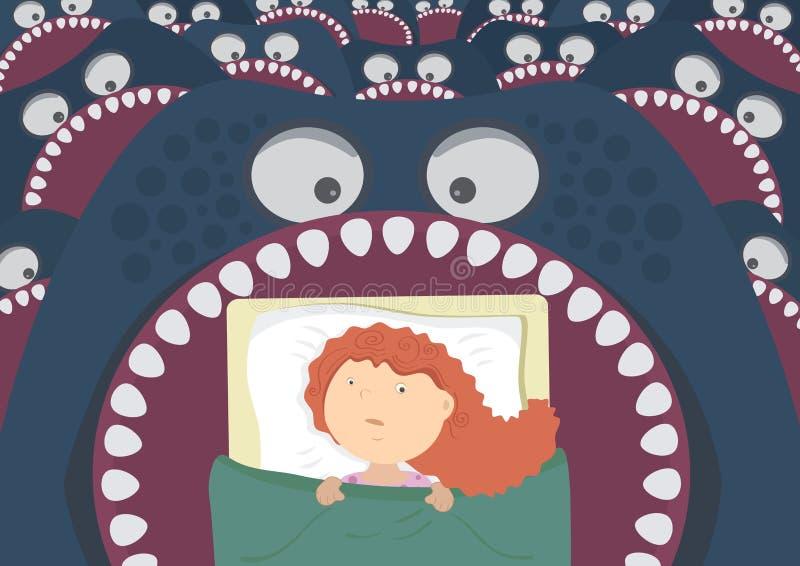 Terrores de noite das crianças ilustração royalty free