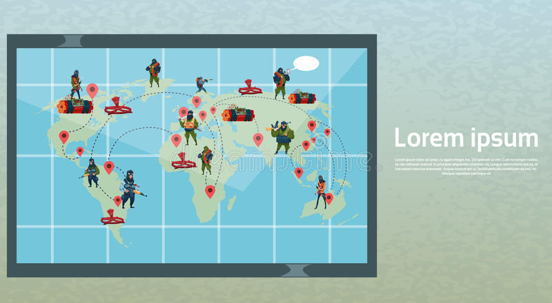 Terrorism Armed Terrorist Black Mask Hold Weapon Machine Gun Planning World Attack stock illustration