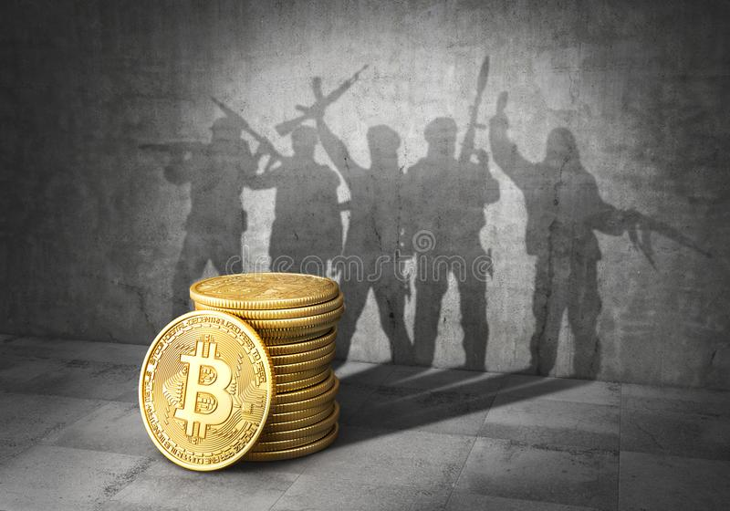 Terrorism concept. E-financing of terror. Stack of bitcoin cast shadow in form of band of terrorists with weapons. 3d. Illustration royalty free illustration