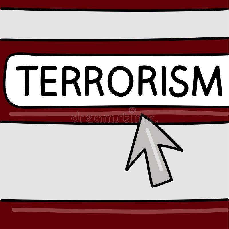 Terrorisme - Internet-nieuwsconcept Browser met een pijl Vector grafiek Gevaren op Internet stock illustratie