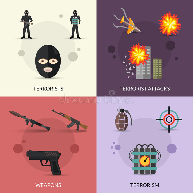Terrorisme Vlakke Reeks royalty-vrije illustratie