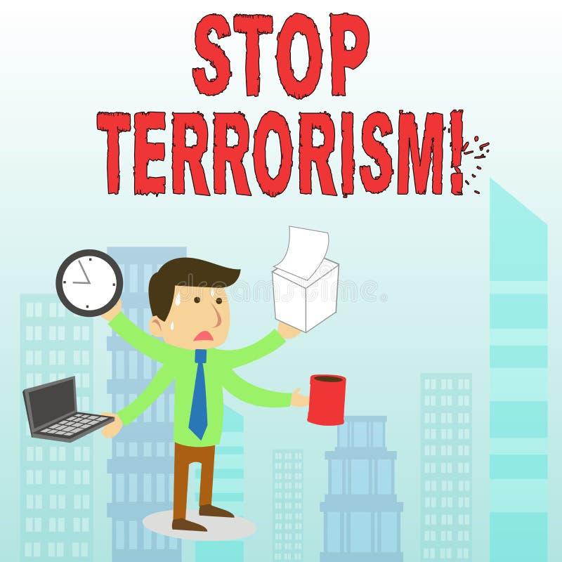 Terrorismo conceptual de la parada de la demostraci?n de la escritura de la mano Texto de la foto del negocio que resuelve los pr libre illustration