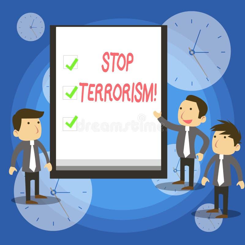 Terrorismo de la parada de la demostración de la muestra del texto Foto conceptual que resuelve los problemas excepcionales relac ilustración del vector