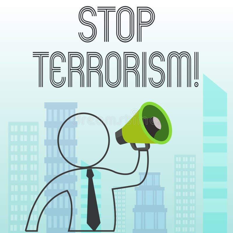 Terrorismo de la parada de la demostraci?n de la muestra del texto Foto conceptual que resuelve los problemas excepcionales relac libre illustration