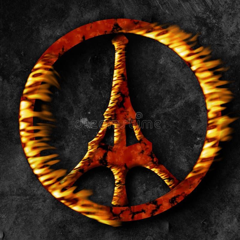 Terrorismo de Paris, sinal de paz no fogo ilustração royalty free