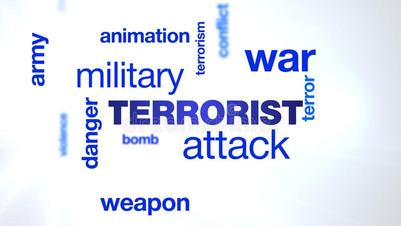 Terrorist attack danger military terrorism war weapon animation bomb army terror animated word cloud background in uhd royalty free illustration
