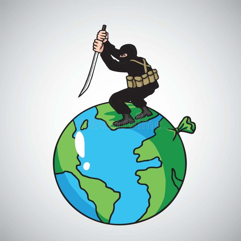 Terrorist Attack Destroying världsfreden missbelåten illustration för pojketecknad film little vektor royaltyfri illustrationer