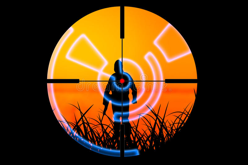 Terrorist attacked by sniper concept stock illustration