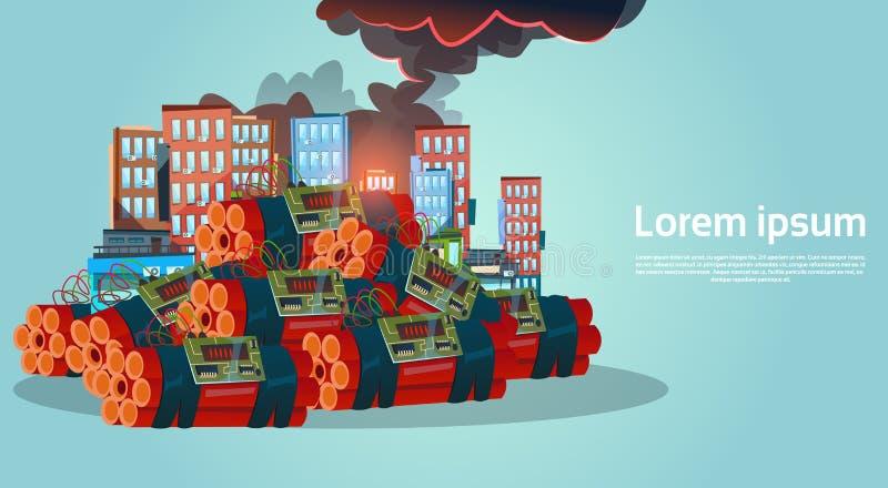 Terrorist Danger för bombning för terrorismattackstad brottslig stock illustrationer