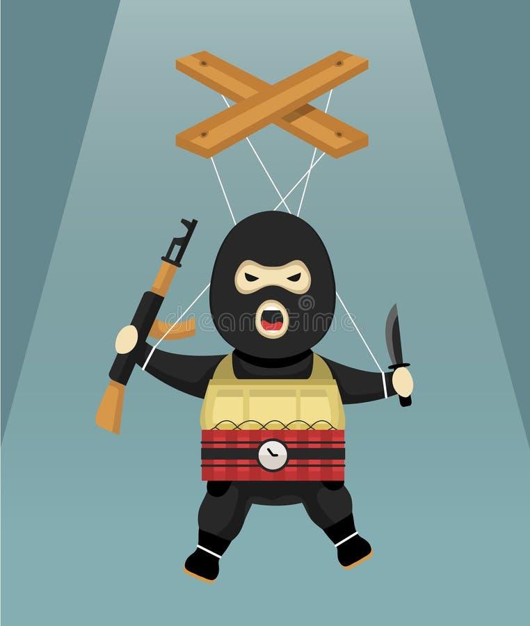 Terrorist-docka lägenhet royaltyfri illustrationer