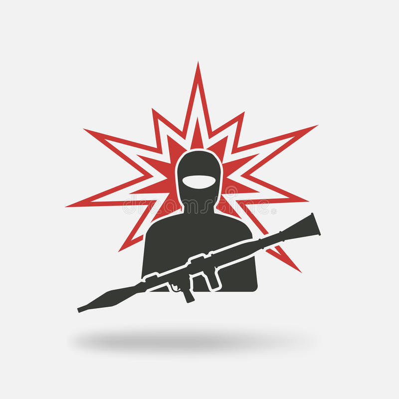 Terrorist with grenade launcher stock illustration