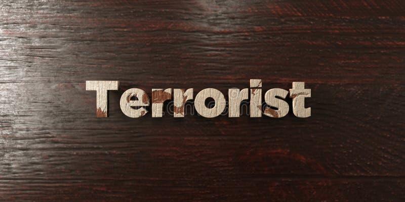 Terrorist - grungy trärubrik på lönn - 3D framförd fri materielbild för royalty stock illustrationer