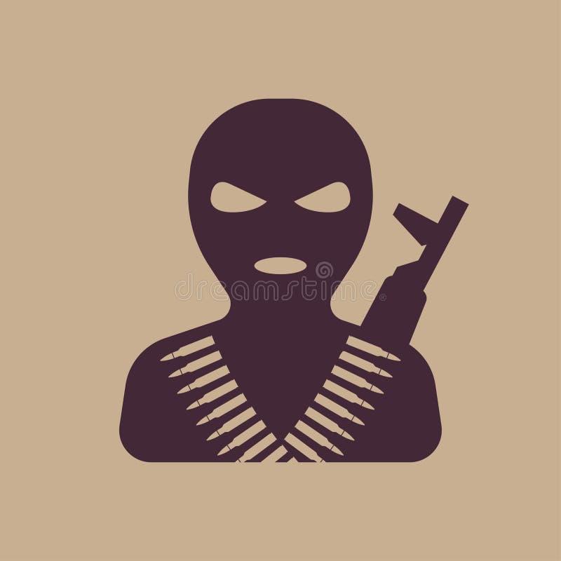 Terrorist i balaclavamaskeringen, symbol vektor illustrationer
