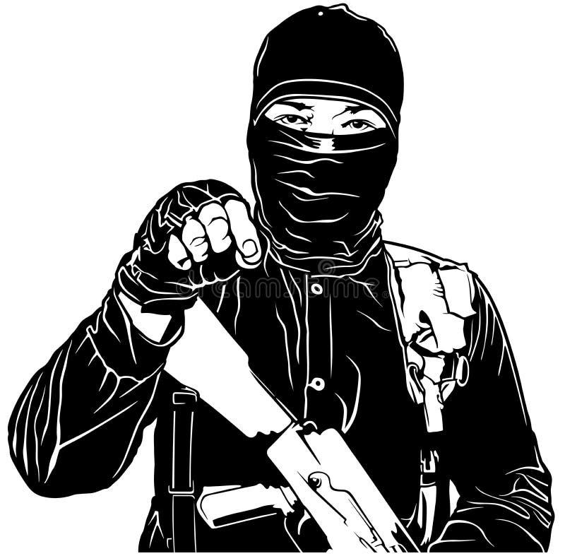 Terrorist i svart stock illustrationer